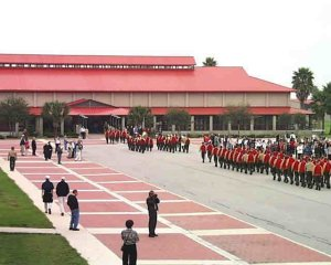 Marine Corps Junior ROTC  (JROTC) cadets march to lunch