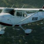 A Redhawk Cessna 172 in-flight..