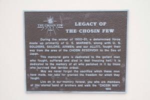 Chosin Few Memorial Gate plaque