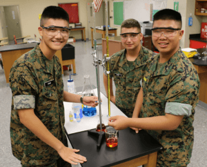 Military School Student in the Chemistry Lab