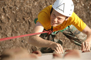 climbing wall at summer camp
