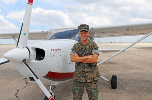 An MMA student studies to be a pilot.