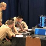MMA Cadets competing in a computer security challenge at cyberPatriot national finals