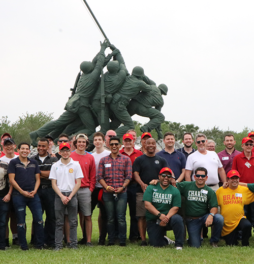MMA alumni in front of Iwo Jima monument